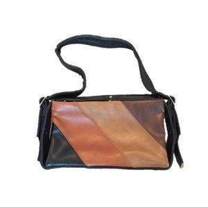 Vintage 80s handbag, shoulder, purse, black/Browns